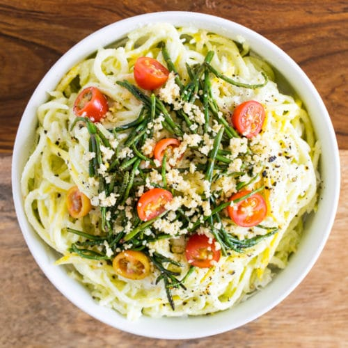 Yellow Courgette Alfredo with Sea Asparagus